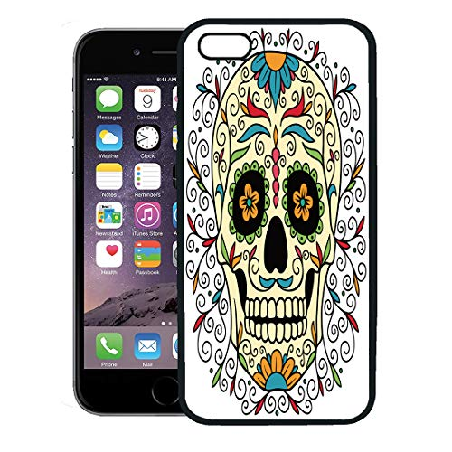 Semtomn Phone Case for iPhone 8 Plus case,Red Pattern Mexican Sugar Skull Yellow Tattoo Halloween Man Carnival iPhone 7 Plus case -