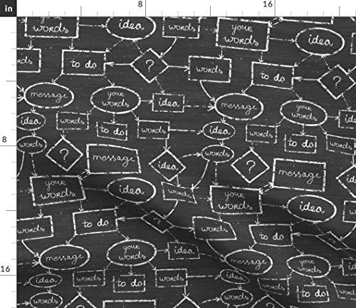 Chalkboard Fabric - Flow Chart Brainstorm Black White Map Chalk Blackboard Chalkboard Idea School Black White by Oksancia Printed on Lightweight Cotton Twill Fabric by The Yard