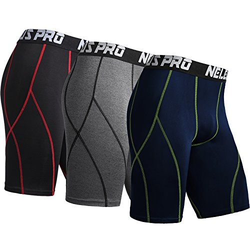 Neleus Men's 3 Pack Sport Running Compression Shorts,6012,Black (Red Stripe),Grey,Navy Blue,XL,EU ()