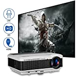 EUG LED LCD Digital HD Video Projector 1080P HDMI 3900 Lumen for Home Cinema Theater System Movies Games Multimedia with Built-in Speakers Zoom Keystone Remote USB VGA AV TV Audio Port Outside