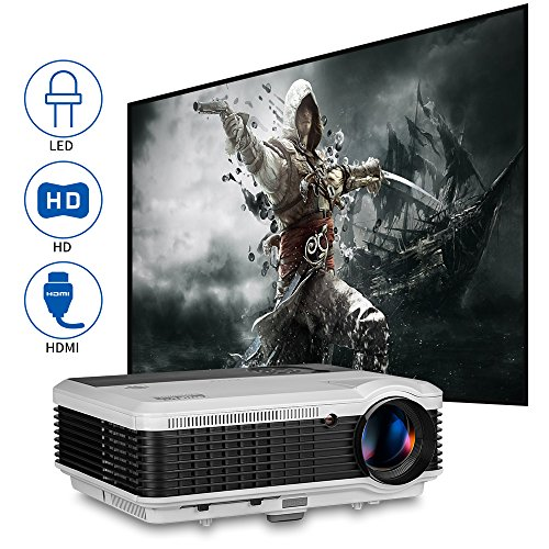 Movie Gaming TV Projector HDMI HD 1080P Support Home Theater Outdoor 4600lumen Digital HD LED LCD Video Projector with HDMI USB VGA AV Audio Out Speakers for iPhone iPad Android Laptop PC PS4 Roku DVD