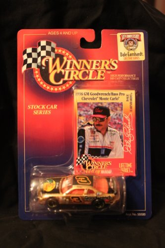 Winners Circle 1/64 scale diecast stock car with collectible card #3 Dale Earnhardt lefetime series 50th anniversary 1998 GM Goodwrench/Bass Pro Chevrolet Monte Carlo1998 by Kenner - Dale Earnhardt Diecast Collectibles