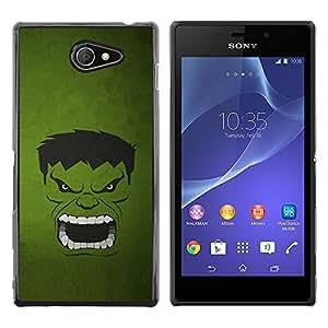 A-type Arte & diseño plástico duro Fundas Cover Cubre Hard Case Cover para Sony Xperia M2 (Monstruo Verde)
