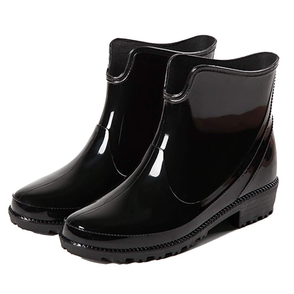 a92cda3bd32 Holyami Fashion Short Rain Boots for Women-Waterproof Non-Slip Black Ankel  Rubber Chelsea Rain Booties Shoes