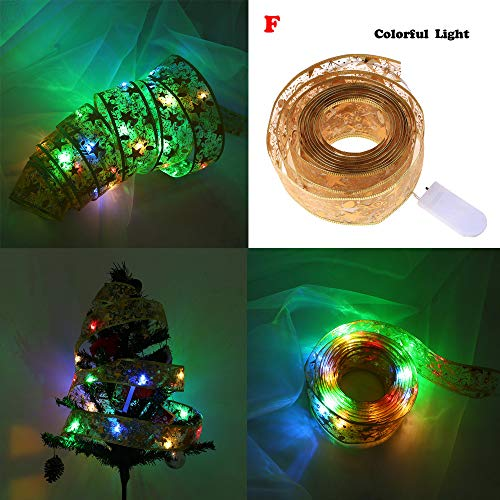 - NISWDE LED light string bronzing double layer ribbon 2m Ribbon Night Light Christmas tree makeup vanity with lights