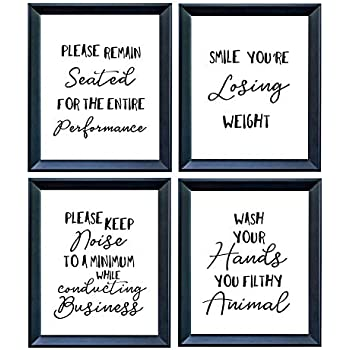 6b120dfb3ea Funny Bathroom Wall Art Decor by MySmarterStyle - 8x10 Set of Black Prints  on White Paper with Personalized Sign Poster Quotes - Humorous House  Warming ...