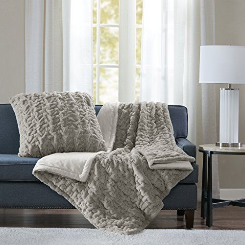 (Madison Park Ruched Fur Luxury Throw Grey 5060    Premium Soft Cozy Brushed Long Fur For Bed, Coach or Sofa)