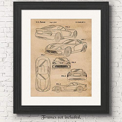 Viper Fan - Original Dodge Viper SRT Patent Poster Prints- Set of 1 (One 11x14) Unframed Photo- Great Wall Art Decor Gifts Under $15 for Home, Office, Studio, Garage, Man Cave, Shop, Showroom, Car & Coffee Fan
