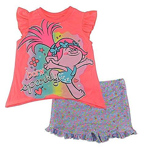 Trolls Little Girls Toddler Coral & Multi Color Two-Piece Short Set (Joker Outfit For Kids)