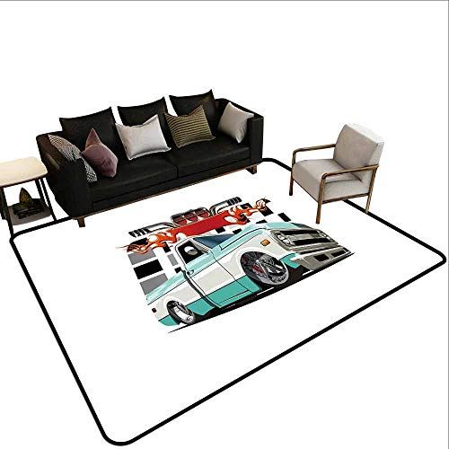 - Area Carpet Truck,Lowrider Pickup with Racing Flag Pattern Background Speeding on The Streets Modified,Multicolor