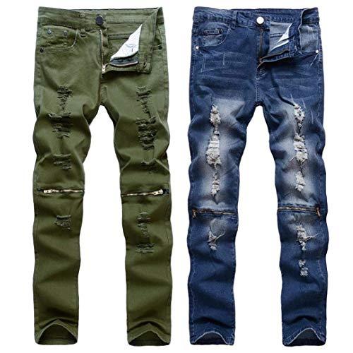 R Fit Da Slim A Jeans Distrutti Vintage Denim Ginocchio Uomo Pantaloni Blau Nero Casual Elasticizzati Strappati Streetwear Moto Chiusura Abbigliamento Ox4p6w