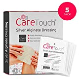 Care Touch Silver Alginate Wound Dressing - Antibacterial Alginate with Silver - 5 Individually Wrapped Sterile Dressings, 4.3'x4.3'