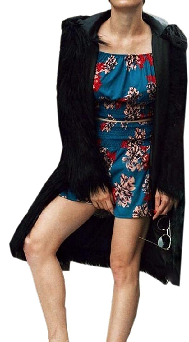Black WSPLYSPJY Women Fuzzy Winter Faux Fur Open Front Mid Long Coat Jacket Overcoat