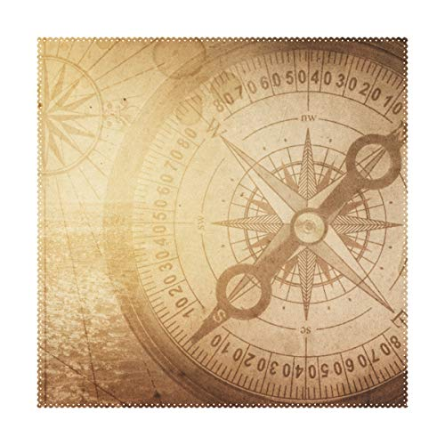 Boutique Pirate - Aluy's boutique Pirate and Nautical Theme Compass and On Old Map Placemats Home Dinner Decorative, Heat-Resistant and Stain Resistant Dining Table Mats Washable Place Mats, Set of 1, (12x12inch)