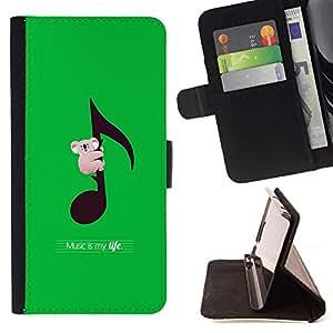 For Samsung GALAXY E5/E500F Case,Samsung Galaxy E5 - Koala Australia Music Green /Leather Foilo Wallet Cover Case with Magnetic Closure/ - Super Marley Shop -