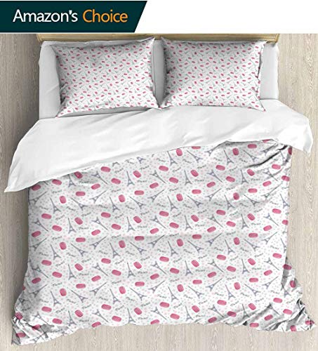 Eiffel Style 3D Digital Print Bedding Sets,Famous Traditional French Food Tasty Macaroons Delicious Retro Deserts Dots 100% Cotton Beding Linens for Kids Children 90
