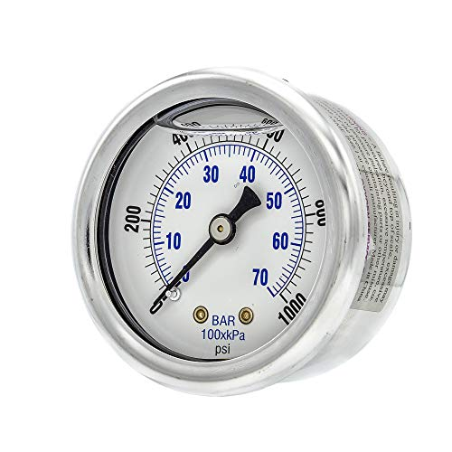 """PIC Gauge 202L-204M 2"""" Dial, 0/1000 psi Range, 1/4"""" Male NPT Connection Size, Center Back Mount Glycerine Filled Pressure Gauge with a Stainless Steel Case, Brass Internals, Stainless Steel Bezel, and Polycarbonate Lens"""