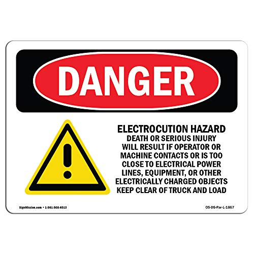OSHA Danger Sign - Electrocution Hazard Crane | Vinyl Label Decal | Protect Your Business, Construction Site, Warehouse & Shop Area | Made in The USA from SignMission