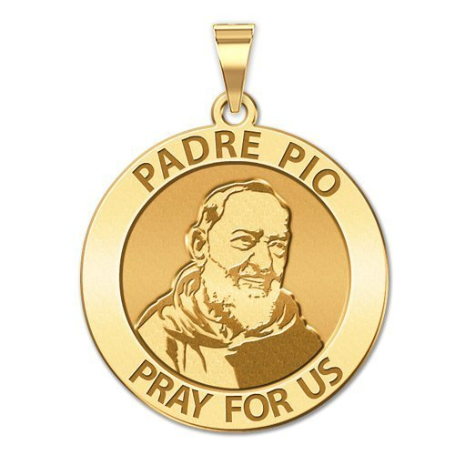 Padre Pio Religious Medal Available in Solid 10K And14K Yellow or White Gold, or Sterling Silver