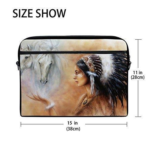 jstel Airbrush Zwei weiß Pferd Laptop Schulter Messenger Tasche Fall Sleeve für 35,6cm zu 39,6cm mit verstellbarer Notebook Schultergurt