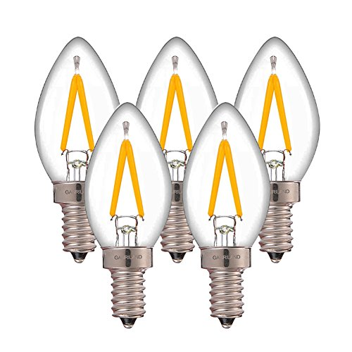 Century 3 Light Pendant - Century Light Edison LED Decorative Bulb C7 LED Filament Night Light Bulb 1W 120V,Candelabra (E12) Base Light Bulb,Mini Torpedo Shape,Ultra Warm White 2200K,Non-Dimmable,UL-Listed (5-Pack)