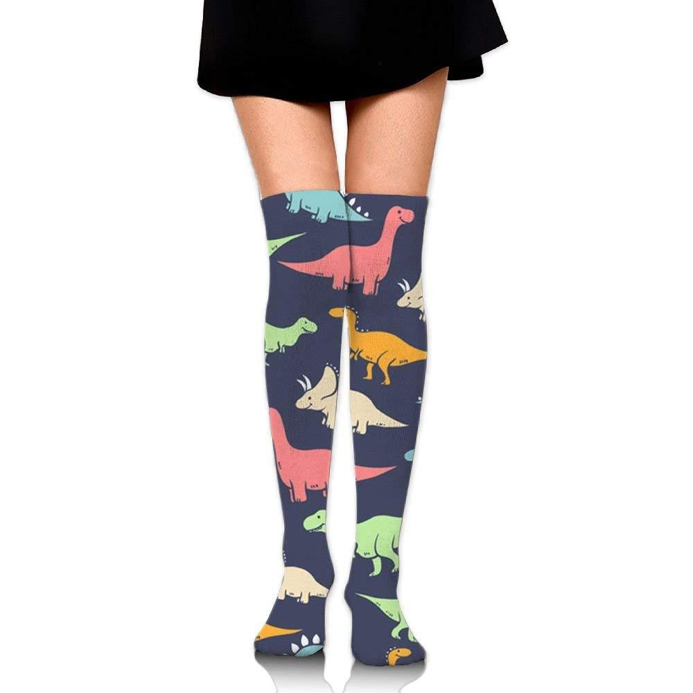 Calzini al ginocchio Dinosauri svegli Lavoro da donna Atletico sopra la coscia Alta calze lunghe