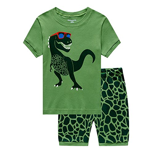 amas Dinosaur Sleepwear PJS Kids Short Set 100% Cotton Toddler Clothes 2 Piece, Green Dinosaur, 3-4 Years/4T ()