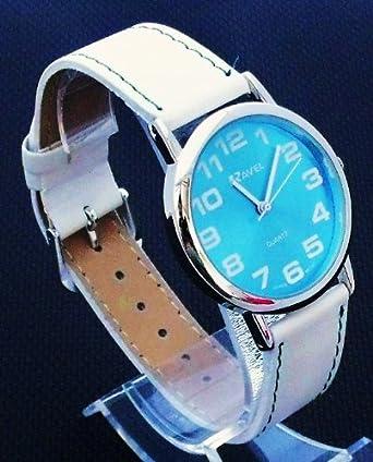 Ravel Jumbo - Reloj de mujer, correa extralarga (21 cm), números grandes, esfera color azul: Amazon.es: Relojes