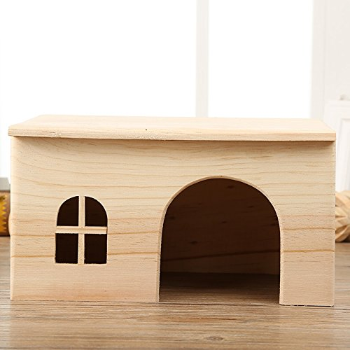 Hamster Wooden House Small Animals Hideout Home for Rat Mice Gerbil Mouse Rabbit Cage Play Hut (M)
