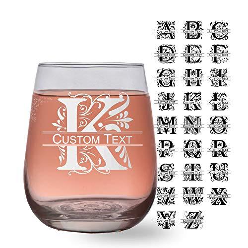 (Regal Split Monogram 17oz Stemless Wine Glass (one) w/Free Customization)