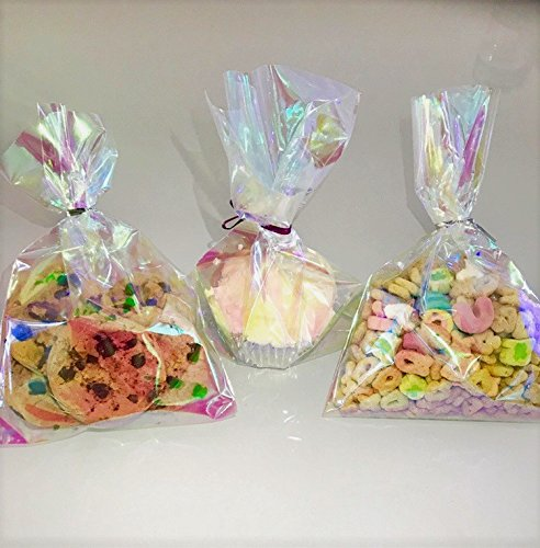 75 Iridescent Party Favor Cellophane Bags 5x7.5 with Twist Ties for Unicorn and Mermaid (Butterfly Cellophane)