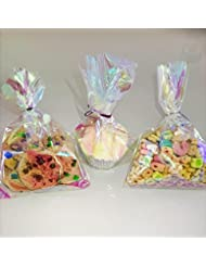 75 Iridescent Party Favor Cellophane Bags 5x7.5 with Twist Ties for Unicorn and Mermaid Party