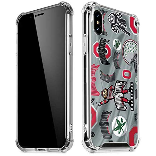 Skinit Ohio State Pattern iPhone X/XS Clear Case - Officially Licensed Ohio State University Phone Case - Slim, Lightweight, Transparent iPhone X/XS Cover