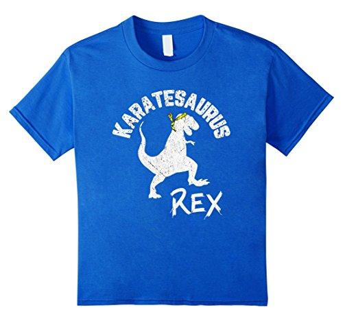 Kids Karate Karatesaurus Rex Dinosaur Funny Martial Arts T-Shirt 6 Royal Blue (Girl Martial Arts Karate T-shirt)