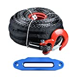 """Set 92' x 1/2"""" Synthetic Winch Rope w/ Protective Sleeve + Red Hook + 10"""" Hawse Fairlead Glossy Blue for JEEP UTV KFI Truck Boat Ramsey"""