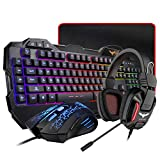 HAVIT Gaming Keyboard Mouse Headset & Mouse Pad Kit, Rainbow LED Backlit Wired, Over Ear Headphone with Mic for PC, Computer, Xbox ONE & PS4, Tablet, Mobile Phones