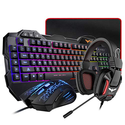 HAVIT Gaming Keyboard Mouse Headset & Mouse Pad Kit, Rainbow LED Backlit Wired, Over Ear Headphone with Mic for PC, Computer, Xbox ONE & PS4, Tablet, Mobile Phones from havit
