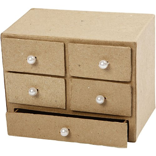 Amazon.com: Creativ 16 x 10 x 12 cm 1-Piece Papier Mache Chest of Drawers by Creativ