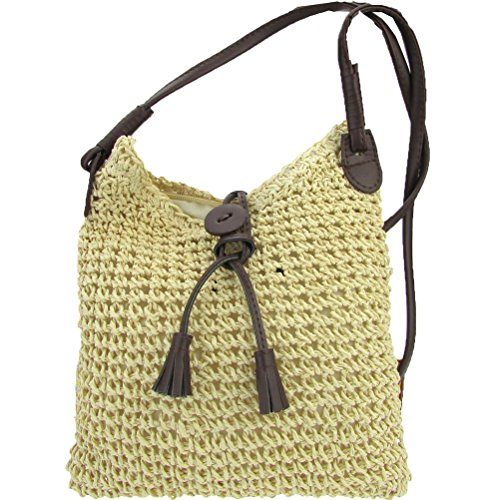 Crochet Purse Handbag Women Beige Straw Cute Shoulder Sling Beach Bow Donalworld Summer UnOwqFfaxf