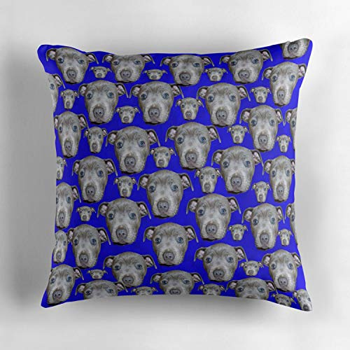 Uwwrticm Blue Staffordshire Puppy Pattern Decorative Throw Pillow Cover 18x18 Inch, Square Indoor Outdoor Cushion Cover Decor Pillowcase Cover for Couch Sofa Bedroom Car