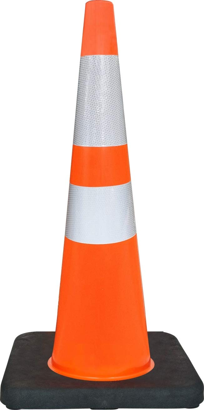 Set of 24 Cones General Safety 28 Orange Traffic Safety Cones with Black Base and 6 /& 4 Reflective Collars 24 Cones