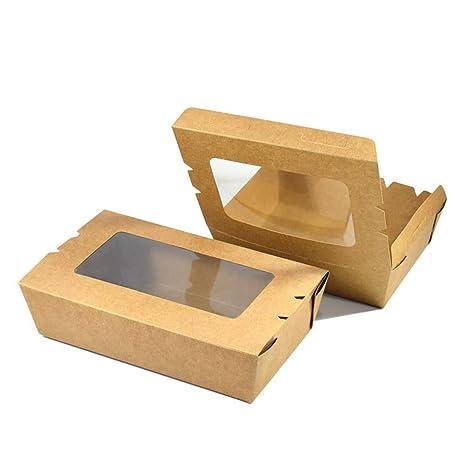 Xiao-bowl3 100 Cajas Caja de Ensalada de Papel Kraft ...