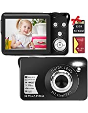 $56 » Digital Camera,2.7K 48MP Compact Camera,2.7 inch HD Pocket Camera,Rechargeable Small Digital Camera for Kids,Students,Children,Photography with 16X Digital Zoom(32GB SD Card Included,1 Battery)