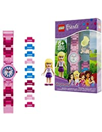 Friends 8020172 Stephanie Kids Buildable Watch with Link Bracelet and Minifigure | Pink/White | Plastic | 28mm case Diameter| Analog Quartz | boy Girl | Official