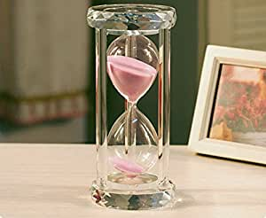 Crystal Hourglass Sandglass Timer - 30 Minute Natural (Pink)