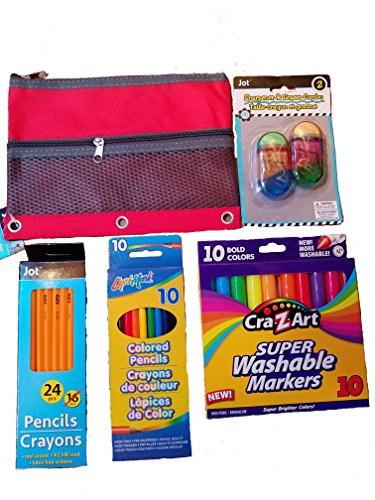 Jot and Cra-Z-Art Back To School 5 Piece Writing Set Includes Pencil Case,  #2 Pencils, Colored Pe