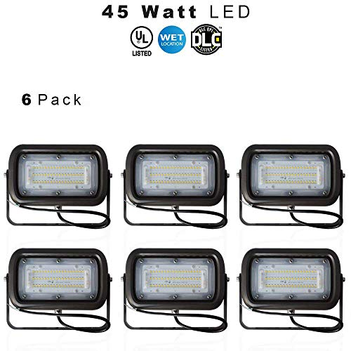 LED Outdoor Security Flood Light, Waterproof, 45 Watt (400W Equivalent) 5400 Lumens, 5000K Daylight White, UL & DLC – Knuckle Mount – 5 Year Warranty – 6 Pack