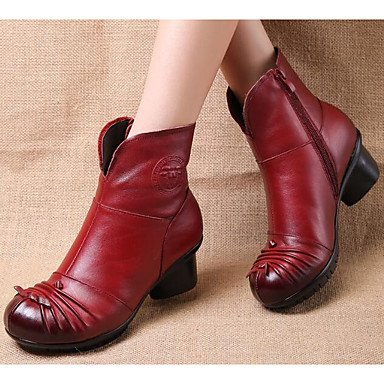 RTRY 5 Mujer Nappa Zapatos De CN37 5 Para 7 Botines Pelusas 5 Vino Cuero Botines Otoño Chunky EU37 Botas Moda Invierno Calf US6 Botas Botas Talón Ocasionales UK4 Forro De Mid xIwrqCx