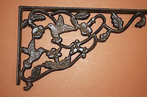 - Set of 4, Hummingbird Garden Window Decor Large Corner Corbels, Cast Iron Shelf Brackets, 11 7/8 inch, B-40