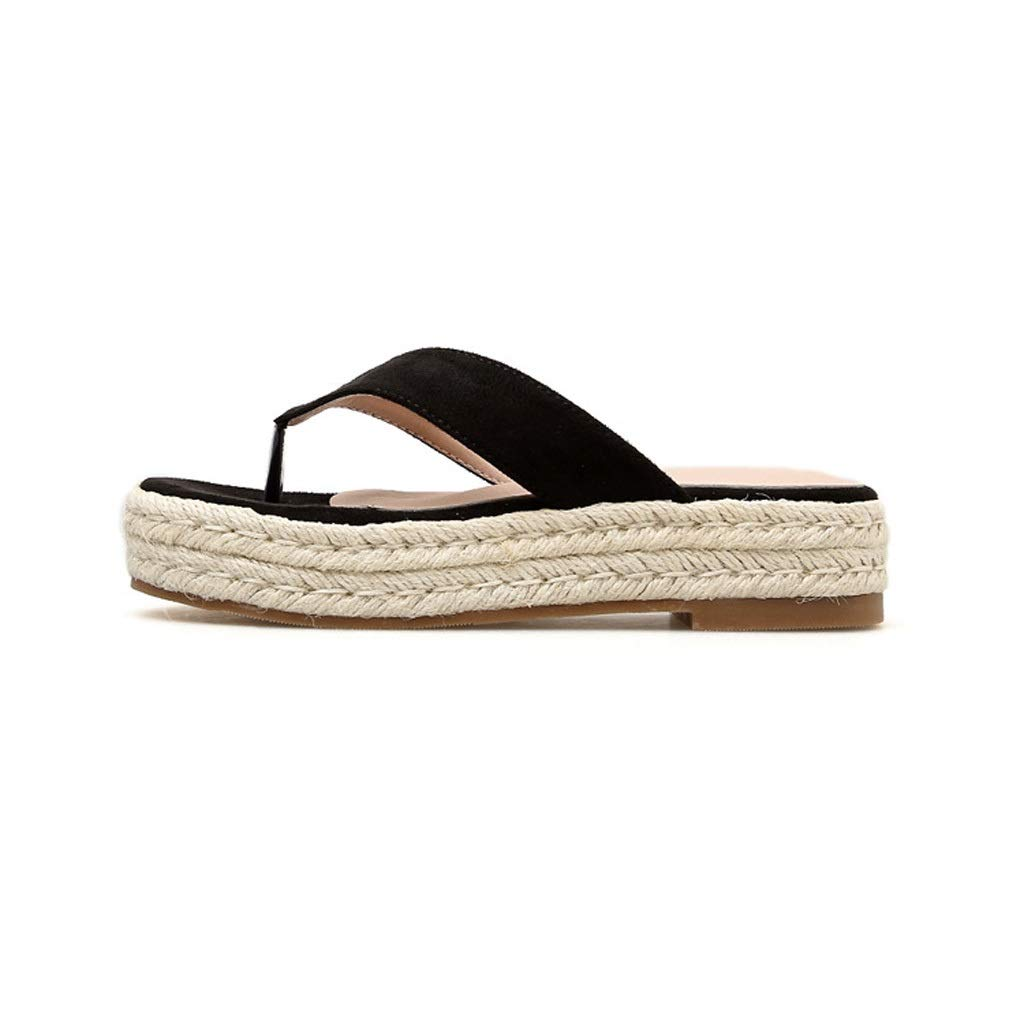 Black Fanxu Women's Flip Flops,Summer Sandals with Thick Soles, Non-Slip Beach Flip-Flops (2 colors shoes Size 3539)